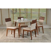 "Manhattan Comfort 5-Piece Utopia 47.24"" and Duke Dining Set with 4 Dining Chairs in White Gloss and Dark Beige and Brown-Minimal & Modern"