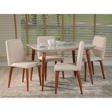 "Manhattan Comfort 5-Piece Utopia 47.24"" Dining Set with 4 Dining Chairs in White Gloss and Beige-Minimal & Modern"