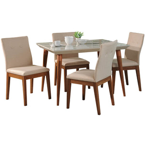 "Manhattan Comfort 5-Piece Utopia 47.24"" and Leroy Dining Set  with 4 Dining Chairs in  Off White  and Dark BeigeManhattan Comfort-- - 1"