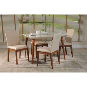 "Manhattan Comfort 5-Piece Utopia 47.24"" and Leroy Dining Set  with 4 Dining Chairs in  Off White  and Dark Beige"