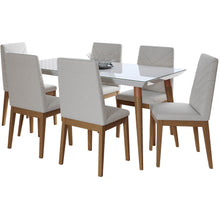"Manhattan Comfort 7-Piece Utopia 62.99"" and Catherine Dining Set with 6 Dining Chairs in White Gloss and Beige-Minimal & Modern"