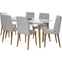 "Manhattan Comfort 7-Piece Utopia 62.99"" Dining Set with 6 Dining Chairs in White Gloss and Beige-Minimal & Modern"
