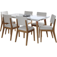 "Manhattan Comfort 7-Piece Utopia 62.99"" and Dover Dining Set with 6 Dining Chairs in White Gloss and Beige-Minimal & Modern"