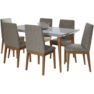"Manhattan Comfort 7-Piece Utopia 62.99"" and Catherine Dining Set  with 6 Dining Chairs in  Off White  and Grey Manhattan Comfort-- - 1"