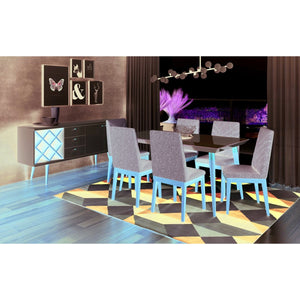 "Manhattan Comfort 7-Piece Utopia 62.99"" and Catherine Dining Set  with 6 Dining Chairs in  Off White  and Grey"