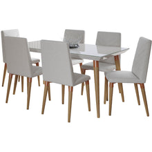 "Manhattan Comfort 7-Piece Utopia 62.99"" Dining Set  with 6 Dining Chairs in  Off White  and Beige Manhattan Comfort-- - 1"