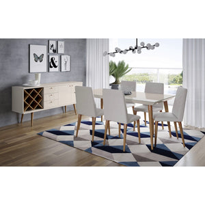 "Manhattan Comfort 7-Piece Utopia 62.99"" Dining Set  with 6 Dining Chairs in  Off White  and Beige"