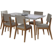 "Manhattan Comfort 7-Piece Utopia 62.99"" and Dover Dining Set with 6 Dining Chairs in Off White and Grey-Minimal & Modern"