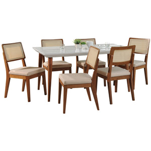 "Manhattan Comfort 7-Piece Utopia 70.86""  and Pell Dining Set  with 6 Dining Chairs in  White Gloss and Dark Beige and Maple Cream Manhattan Comfort-- - 1"