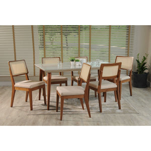 "Manhattan Comfort 7-Piece Utopia 70.86"" and Pell Dining Set with 6 Dining Chairs in White Gloss and Dark Beige and Maple Cream-Minimal & Modern"