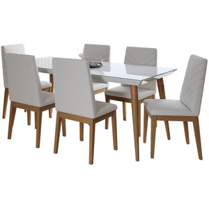 "Manhattan Comfort 7-Piece Utopia 70.86"" and Catherine Dining Set  with 6 Dining Chairs in  White Gloss and Beige Manhattan Comfort-- - 1"