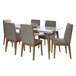 "Manhattan Comfort 7-Piece Utopia 70.86"" and Catherine Dining Set with 6 Dining Chairs in White Gloss and Grey-Minimal & Modern"