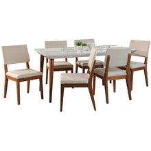 "Manhattan Comfort 7-Piece Utopia 70.86"" and Dover Dining Set with 6 Dining Chairs in White Gloss and Beige-Minimal & Modern"
