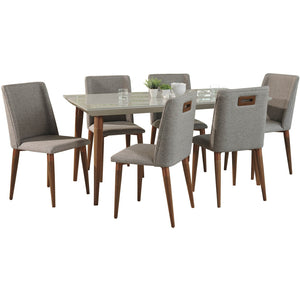 "Manhattan Comfort 7-Piece Utopia 70.86""  and Tampa Dining Set  with 6 Dining Chairs in  Off White  and Grey Manhattan Comfort-- - 1"