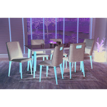 "Manhattan Comfort 7-Piece Utopia 70.86""  and Tampa Dining Set  with 6 Dining Chairs in  Off White  and Grey"