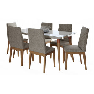 "Manhattan Comfort 7-Piece Utopia 70.86"" and Catherine Dining Set with 6 Dining Chairs in Off White and Grey-Minimal & Modern"