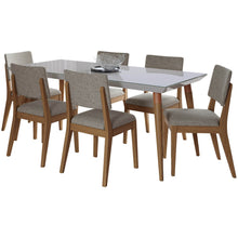 "Manhattan Comfort 7-Piece Utopia 70.86"" and Dover Dining Set with 6 Dining Chairs in Off White and Grey-Minimal & Modern"