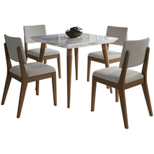 "Manhattan Comfort 5-Piece Utopia 35.43"" and Dover Dining Set  with 4 Dining Chairs in  White Gloss Marble  and Beige Manhattan Comfort-- - 1"