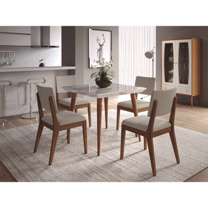 "Manhattan Comfort 5-Piece Utopia 35.43"" and Dover Dining Set  with 4 Dining Chairs in  White Gloss Marble  and Beige"