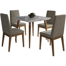 "Manhattan Comfort 5-Piece Utopia 35.43"" and Catherine Dining Set  with 4 Dining Chairs in  Off White Marble and Grey Manhattan Comfort-- - 1"
