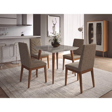 "Manhattan Comfort 5-Piece Utopia 35.43"" and Catherine Dining Set  with 4 Dining Chairs in  Off White Marble and Grey"
