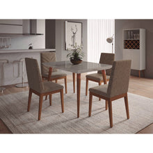 "Manhattan Comfort 5-Piece Utopia 47.24"" and Catherine Dining Set with 4 Dining Chairs in Off White Marble and Grey-Minimal & Modern"