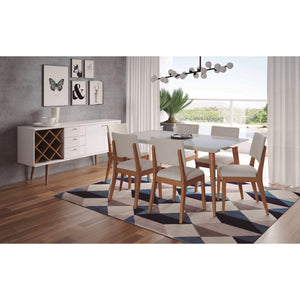 "Manhattan Comfort 7-Piece Utopia 62.99"" and Dover Dining Set with 6 Dining Chairs in White Gloss Marble and Beige-Minimal & Modern"