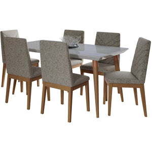 "Manhattan Comfort 7-Piece Utopia 62.99"" and Catherine Dining Set with 6 Dining Chairs in Off White Marble and Grey-Minimal & Modern"