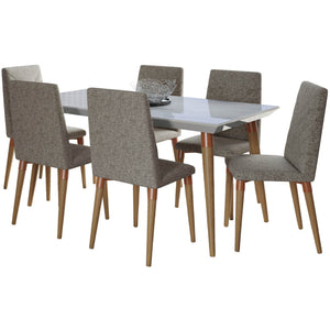 "Manhattan Comfort 7-Piece Utopia 62.99"" Dining Set  with 6 Dining Chairs in  Off White Marble and Grey Manhattan Comfort-- - 1"