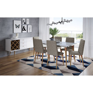 "Manhattan Comfort 7-Piece Utopia 62.99"" Dining Set  with 6 Dining Chairs in  Off White Marble and Grey"