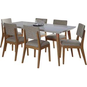 "Manhattan Comfort 7-Piece Utopia 70.86"" and Dover Dining Set  with 6 Dining Chairs in  Off White Marble and Grey Manhattan Comfort-- - 1"