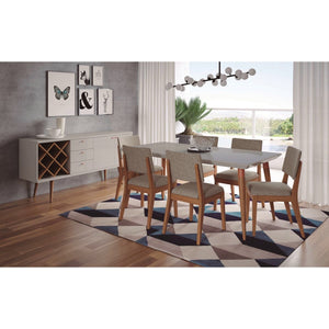 "Manhattan Comfort 7-Piece Utopia 70.86"" and Dover Dining Set  with 6 Dining Chairs in  Off White Marble and Grey"