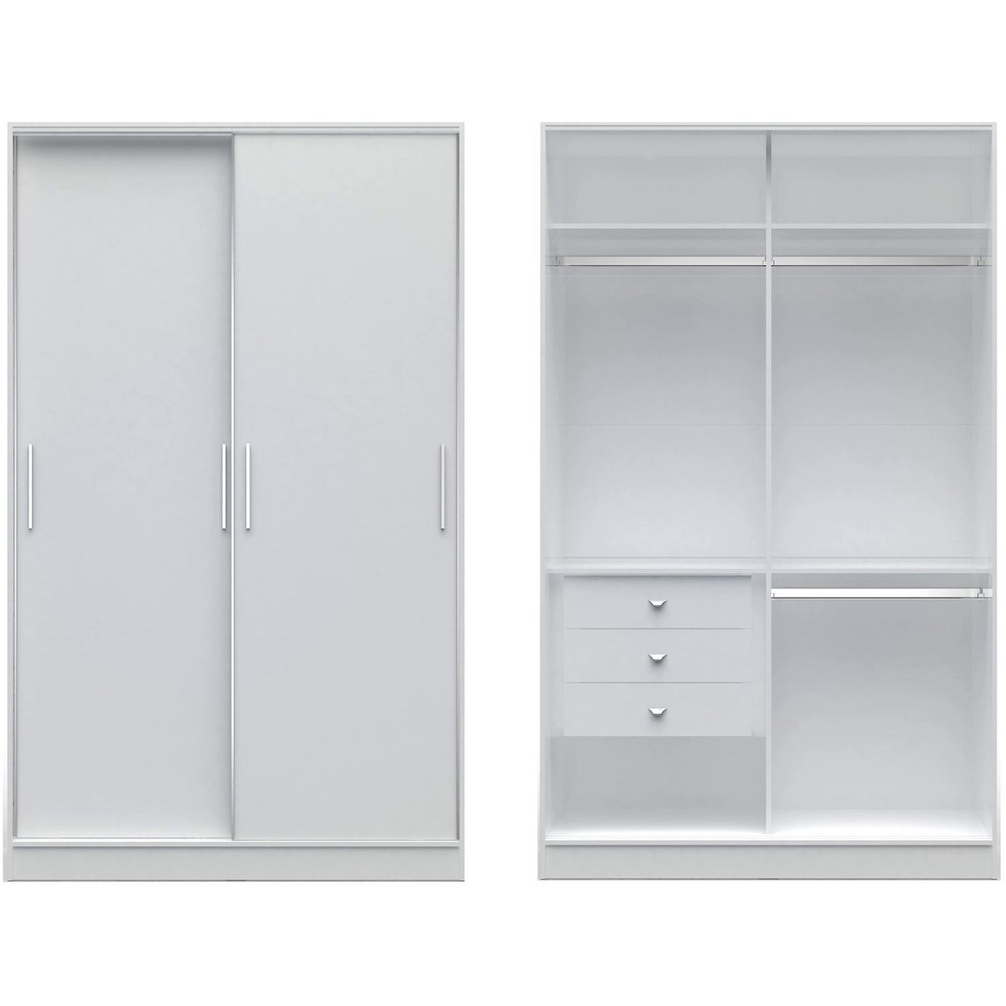 Manhattan Comfort Chelsea 1.0 - 54.33 inch Wide Double Basic Wardrobe with 3 Drawers and 2 Sliding Doors in White-Minimal & Modern