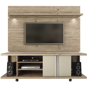 Manhattan Comfort Carnegie TV Stand and Park 1.8 Floating Wall TV Panel with LED Lights in Natue and Nude-Minimal & Modern