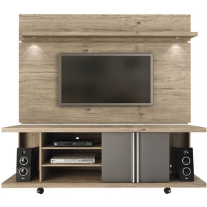 Manhattan Comfort Carnegie TV Stand and Park 1.8 Floating Wall TV Panel with LED Lights in Natue and Onyx,  - Manhattan Comfort - 1