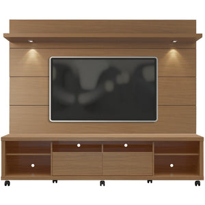 Manhattan Comfort Cabrini TV Stand and Floating Wall TV Panel with LED Lights 2.2 in Maple Cream and Off White-Minimal & Modern