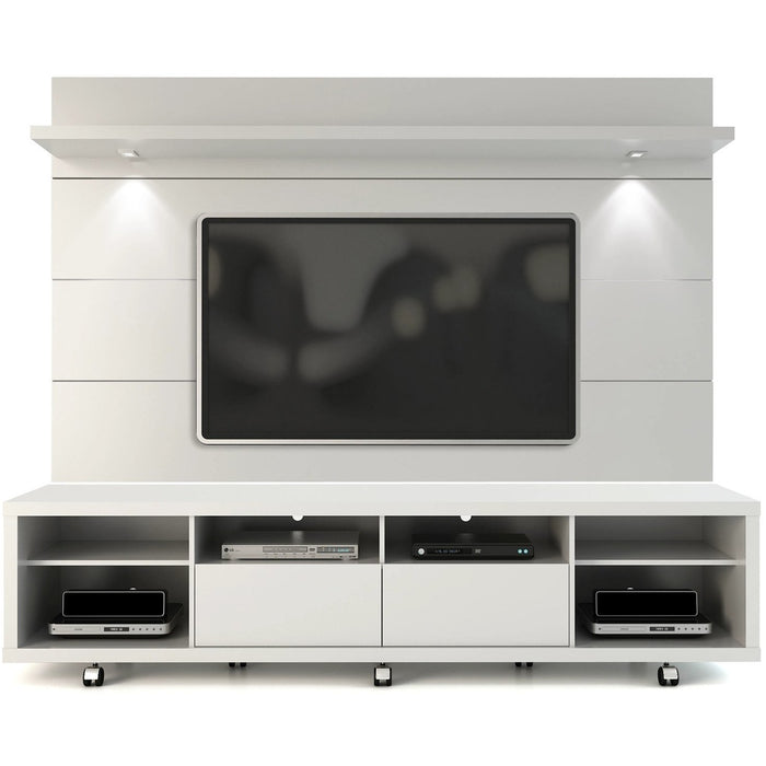 Manhattan Comfort Cabrini TV Stand and Floating Wall TV Panel with LED Lights 2.2 in White Gloss-Minimal & Modern