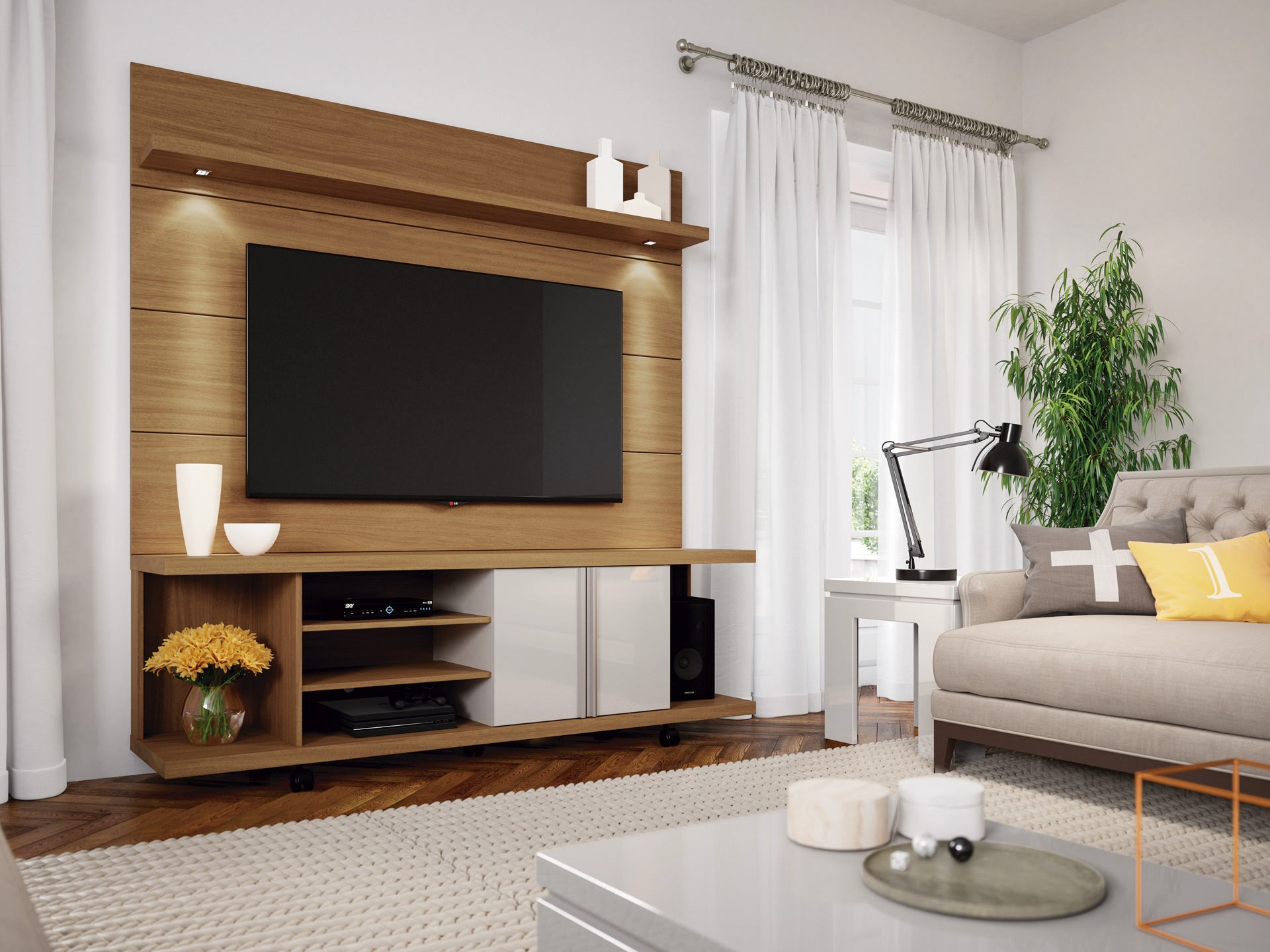 Manhattan Comfort Carnegie TV Stand and Cabrini 1.8 Floating Wall TV ...
