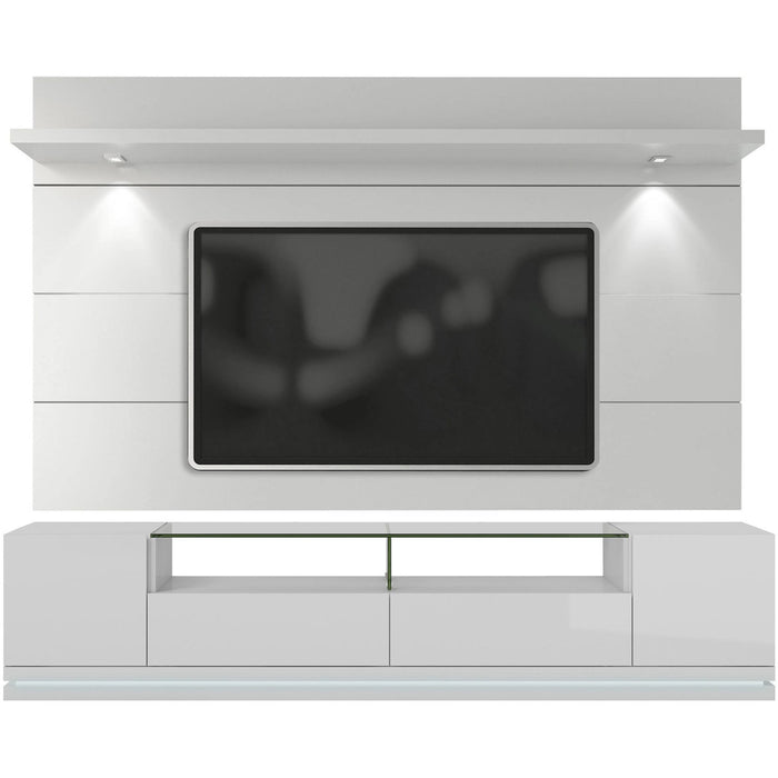 Manhattan Comfort Vanderbilt TV Stand and Cabrini 2.2 Floating Wall TV Panel with LED Lights in White Gloss-Minimal & Modern