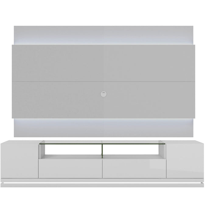 Manhattan Comfort Vanderbilt TV Stand and Lincoln 2.2 Floating Wall TV Panel with LED Lights in White Gloss-Minimal & Modern