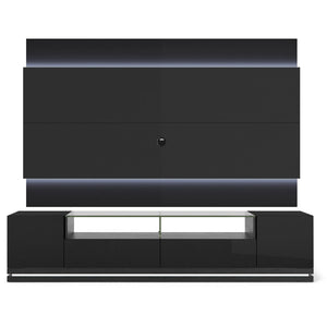 Manhattan Comfort Vanderbilt TV Stand and Lincoln 2.2 Floating Wall TV Panel with LED Lights in Black Gloss and Black Matte,  - Manhattan Comfort - 1