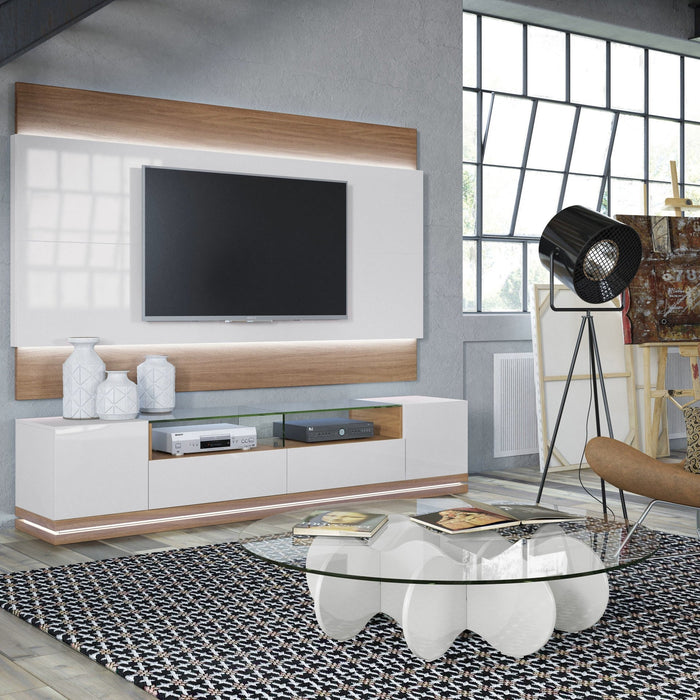 Manhattan Comfort Vanderbilt TV Stand and Lincoln 2.2 Floating Wall TV Panel with LED Lights in Off White,  - Manhattan Comfort - 1