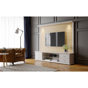 "Manhattan Comfort 2-Piece Carder 85.43"" TV Stand and Panel with Led Lights in Nature Wood and Off White-Minimal & Modern"