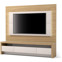 "Manhattan Comfort 2-Piece Sylvan 70.86"" TV Stand and Panel with LED Lights in Nature Wood and Off White-Minimal & Modern"