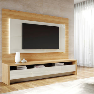 "Manhattan Comfort 2-Piece Sylvan 85.43"" TV Stand and Panel with LED Lights in Nature Wood and Off White-Minimal & Modern"