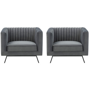 Manhattan Comfort Vandam 2-Piece Charcoal Grey Velvet Armchairs Manhattan Comfort-Armchair- - 1
