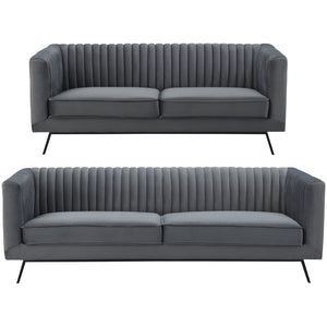 Manhattan Comfort Vandam 2-Piece Charcoal Grey Velvet 3-Seat Sofa and 2-Seat LoveseatManhattan Comfort-Sofa Sets- - 1