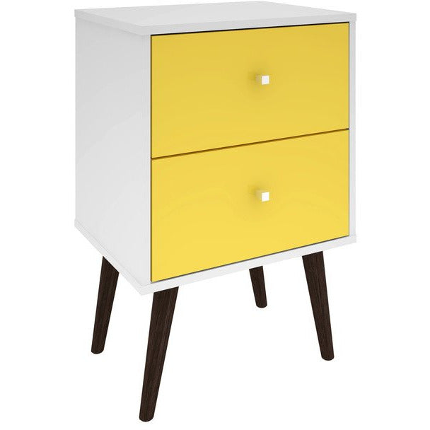 Manhattan Comfort Liberty Mid Century - Modern Nightstand 2.0 with 2 Full Extension Drawers in White and Yellow with Solid Wood LegsManhattan Comfort-Nightstand- - 1