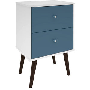 Manhattan Comfort Liberty Mid Century - Modern Nightstand 2.0 with 2 Full Extension Drawers in White and Aqua Blue  with Solid Wood LegsManhattan Comfort-Nightstand- - 1