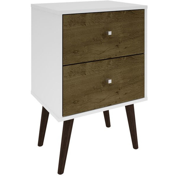 Manhattan Comfort Liberty Mid Century - Modern Nightstand 2.0 with 2 Full Extension Drawers in White and Rustic Brown with Solid Wood LegsManhattan Comfort-Nightstand- - 1